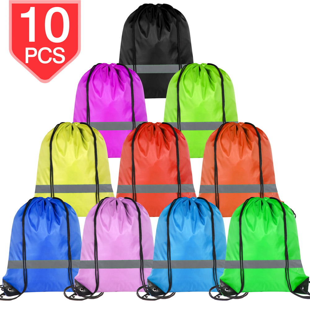 PROLOSO Drawstring Bags Reflective Sports Gym Backpack Pull String Backpacks Cinch Tote Bag 10 Pcs
