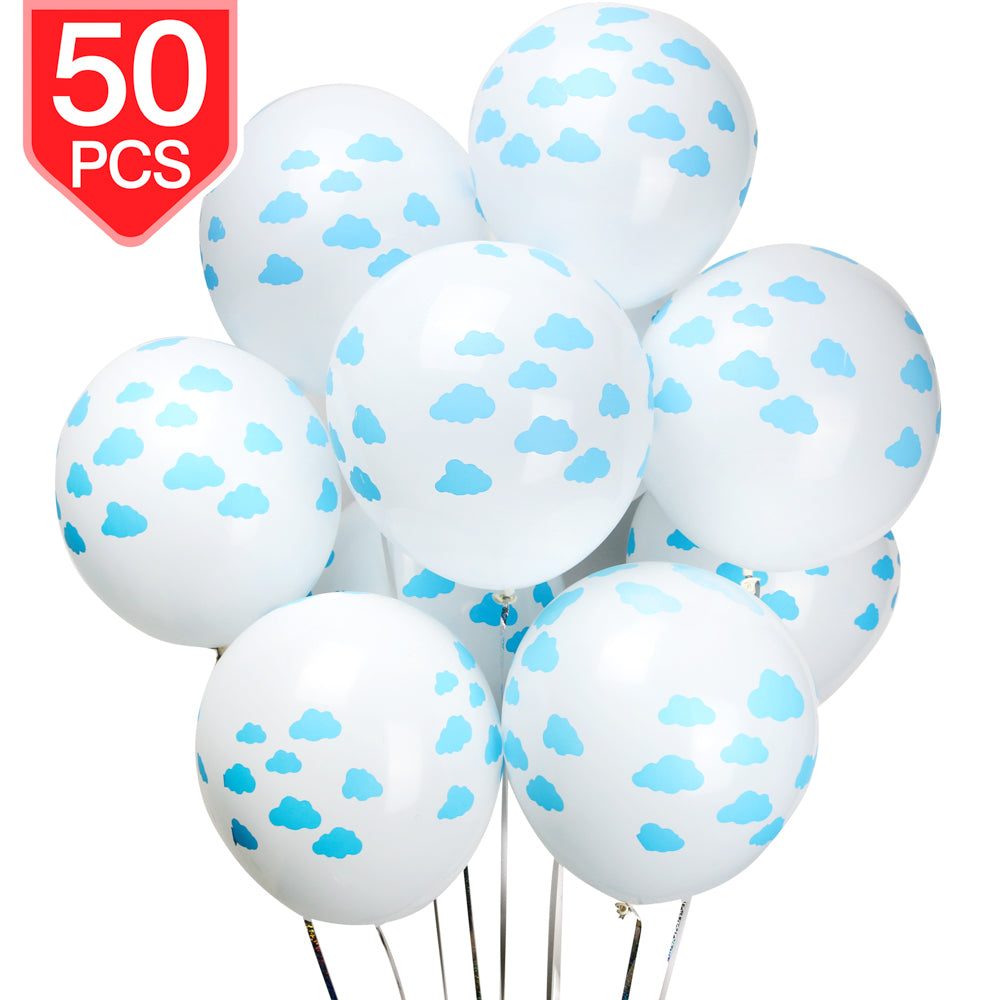 PROLOSO Clouds Latex Balloons for Baby Shower Birthday Party Ceremony Decorations 50 Pcs