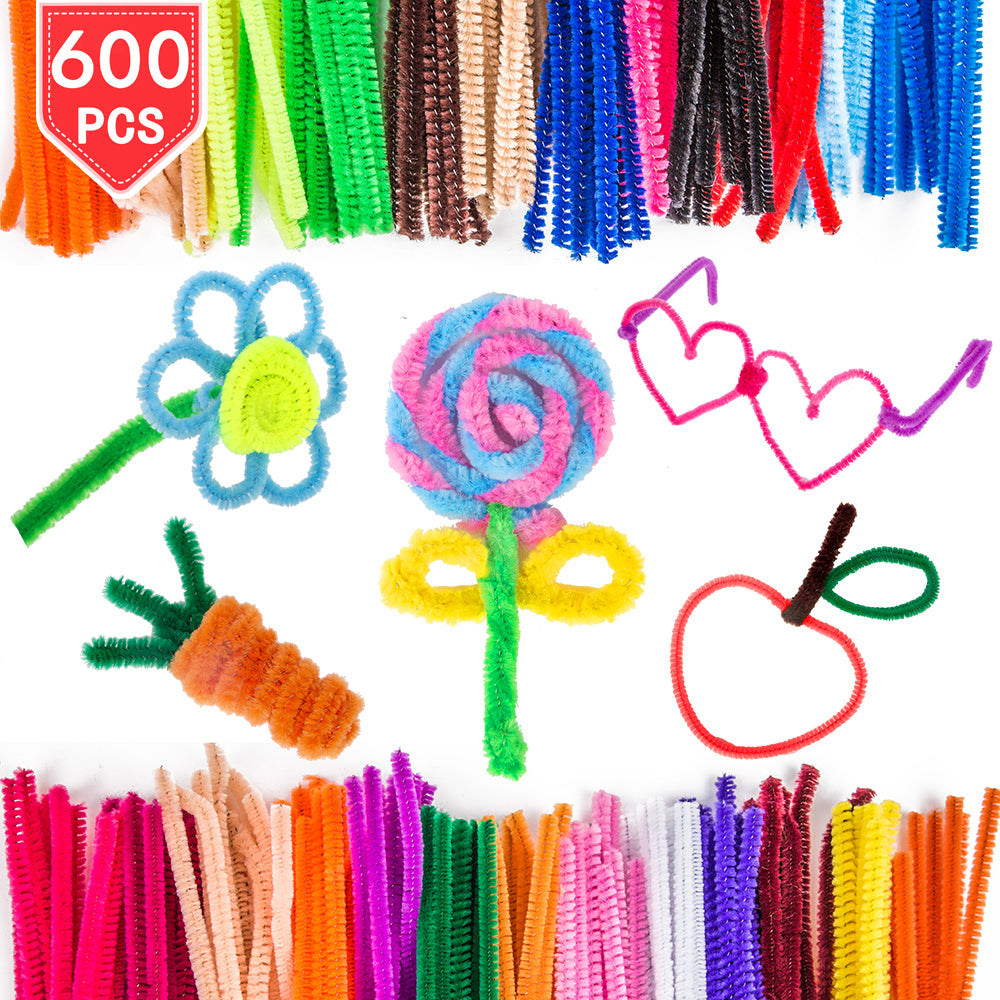 PROLOSO 600 Pcs Chenille Stems Pipe Cleaners Twistble Lint Wire DIY Handcraft