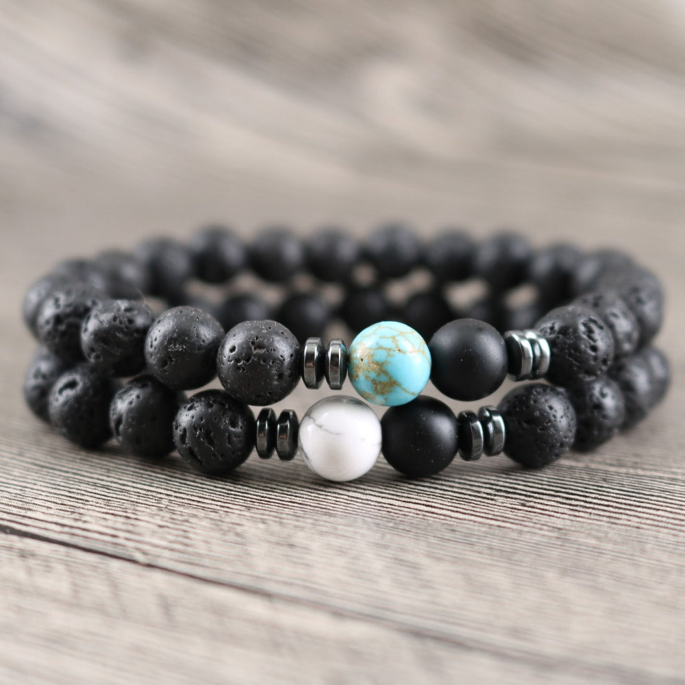 Rock Lava Natural Stone Courage Bracelets