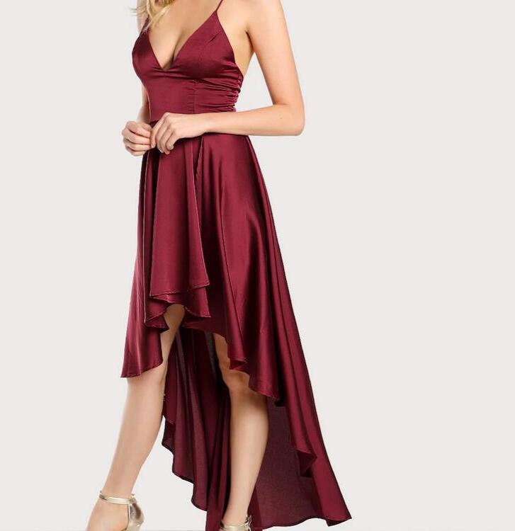 Party Dress Deep V Neck Spaghetti Strap Sleeveless Maxi Dress