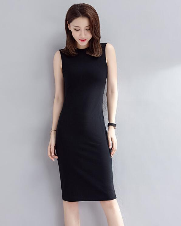 Black Sleeveless Dress Female Simple Dress Cotton