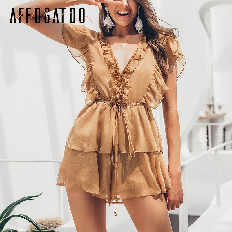 Short Romper High Waist Casual Playsuit Female Overall