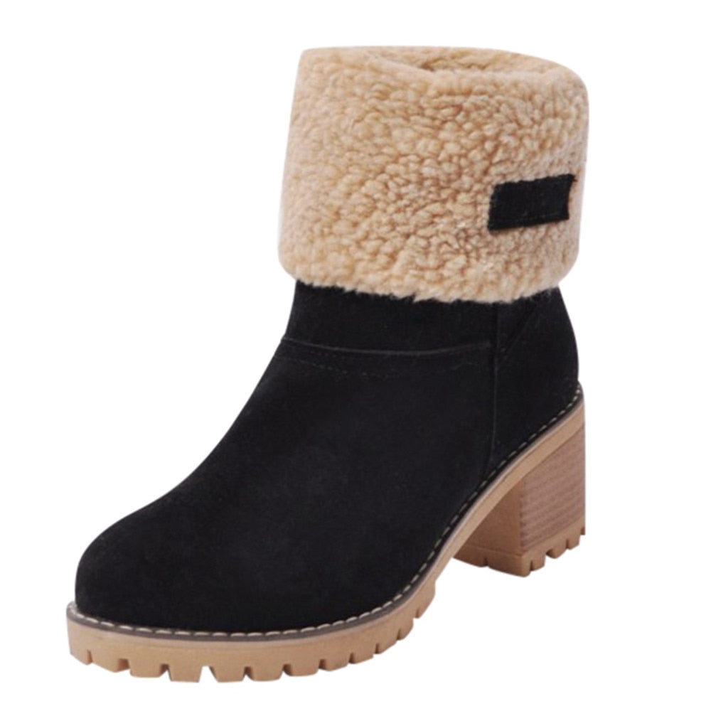 Women's Shoes Snowboots Ladies Winter Flock