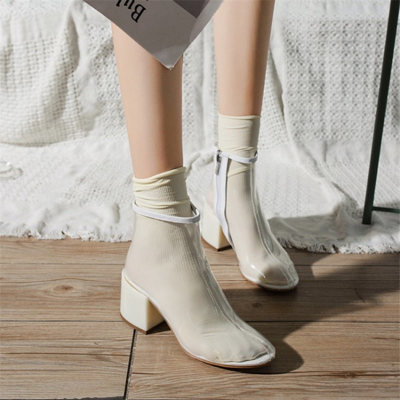 Shoes Women Transparent Clear Lucite Block High Heel Ankle Boot Round Toe Zip Plastic Ladies Motorcycle Boots