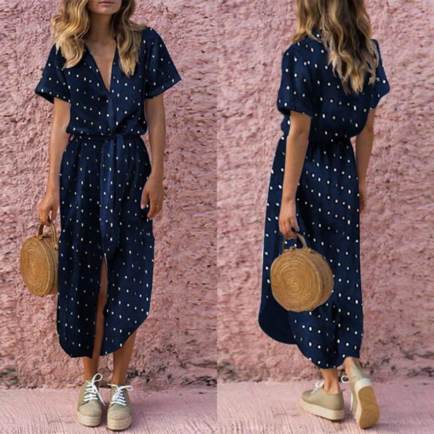Bow Tie V Neck Dot Button Dress Short Sleeve Soild Long Dress