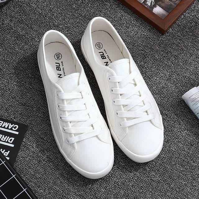 White Canvas Shoes Sports Tennis