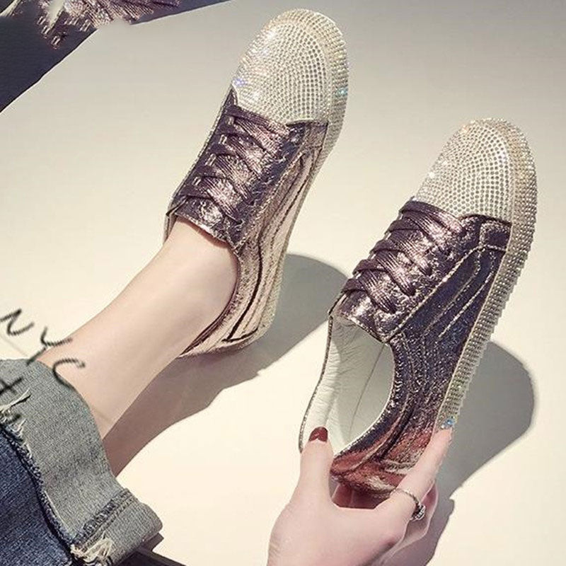 Golden Silver Shoes Rhinestone Bling Casual Shoes Korean Luxury