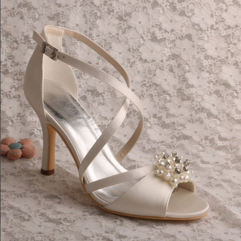 High Heel Vintage Shoes for Wedding Sandals White Pearl Strappy Shoes Ankle Strap