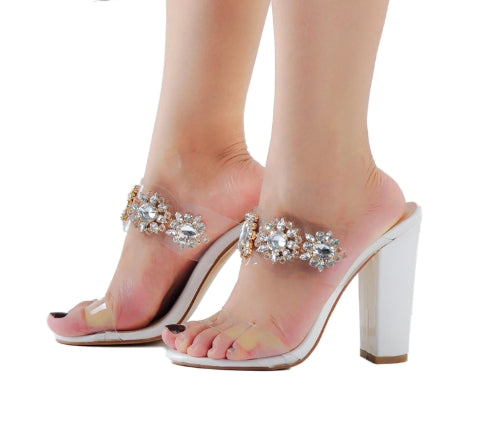 Women's Clear White High Heel Mules Open Toe Jeweled Straps