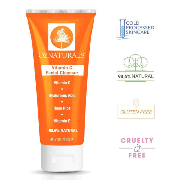 OZ Naturals Vitamin C Face Wash Natural Facial Cleanser for Oily, Dry, and Sensitive Skin