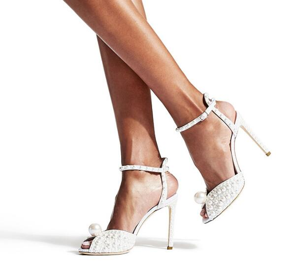 Peep Toe High Heel Sandal Summer White Pearls Beaded Party Wedding Shoes