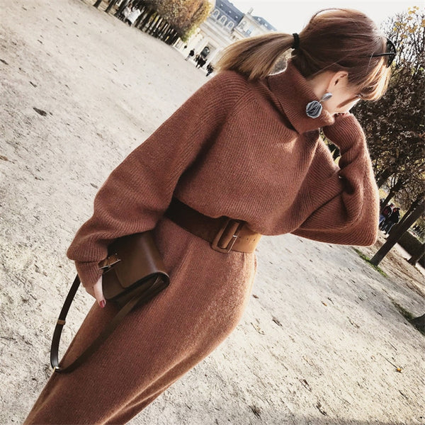 Winter Female Sweater Dress Women Pullover Turtleneck Long Sleeves Warm Slim Knitted Dress with Belt