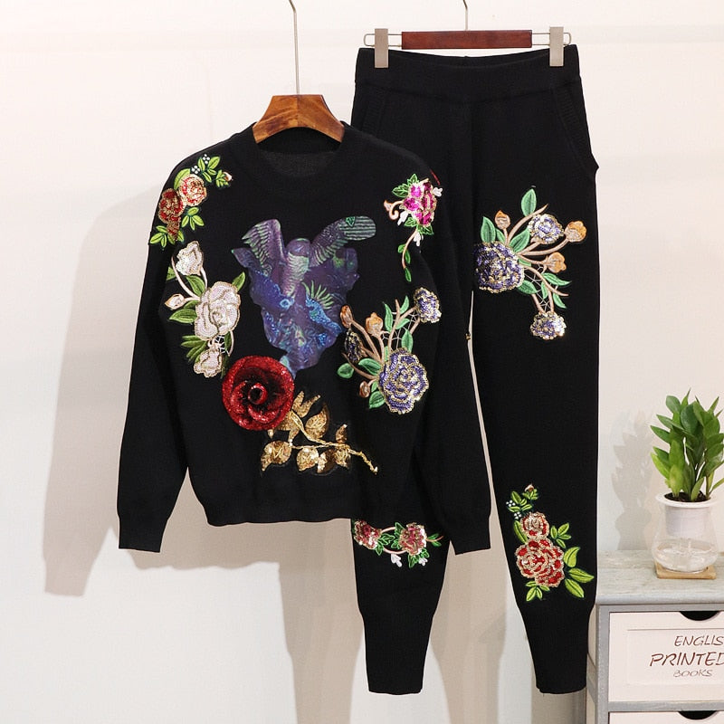 Two pieces set women Embroidery sequin sweater + trousers pants set