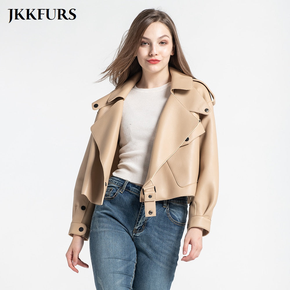 Women's Leather Jacket New Fashion Genuine Leather Coat Lady