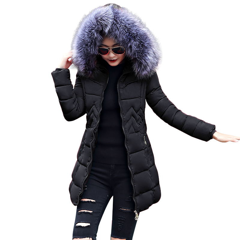 Winter Jacket Women Fur Collar Hooded Thick Down Jacket For Women Winter Coat