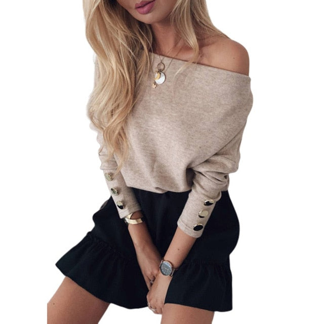 Women Sexy Slash Neck Solid Knit Sweater Elegant Autumn Winter Long Sleeves