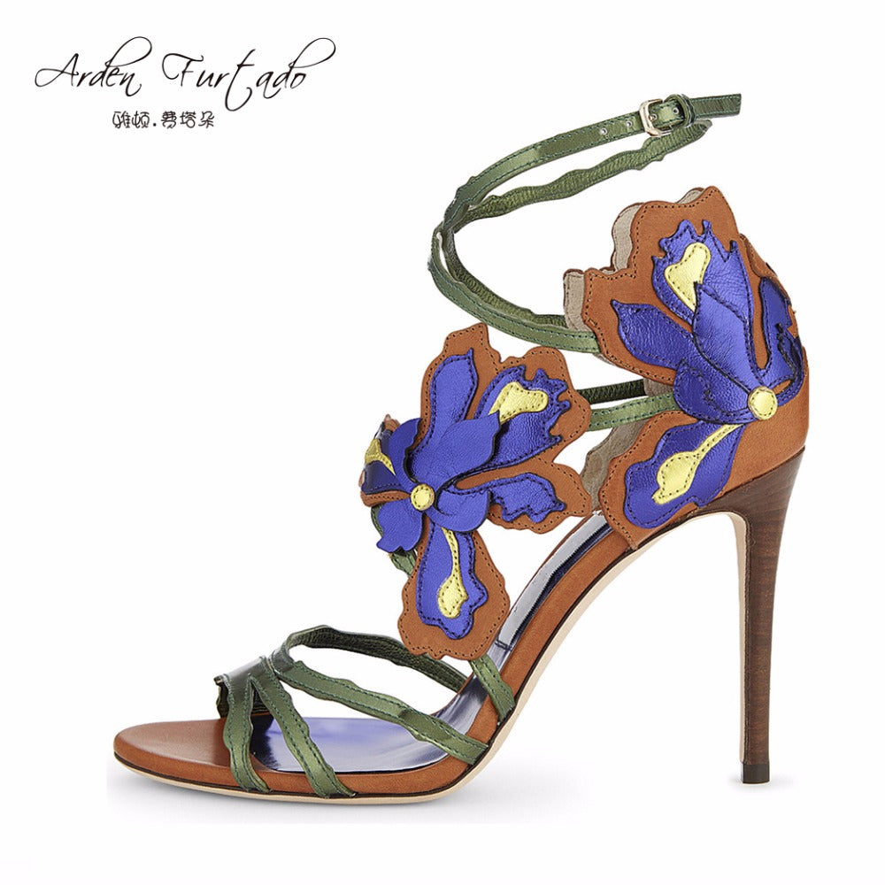 Stiletto high heel embroidery sandals