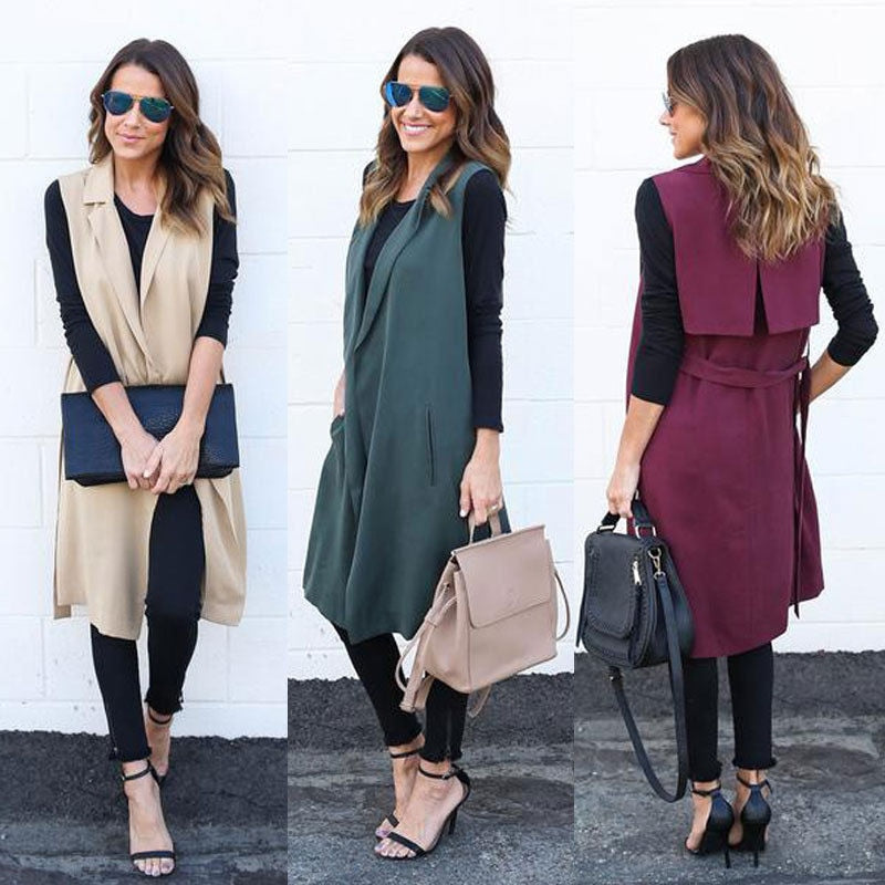 New Fashion Women Waterfall Cape Lapel Long Cardigan Jacket Coat Waistcoat Sleeveless Long Vest Autumn Spring Outwear Clothes