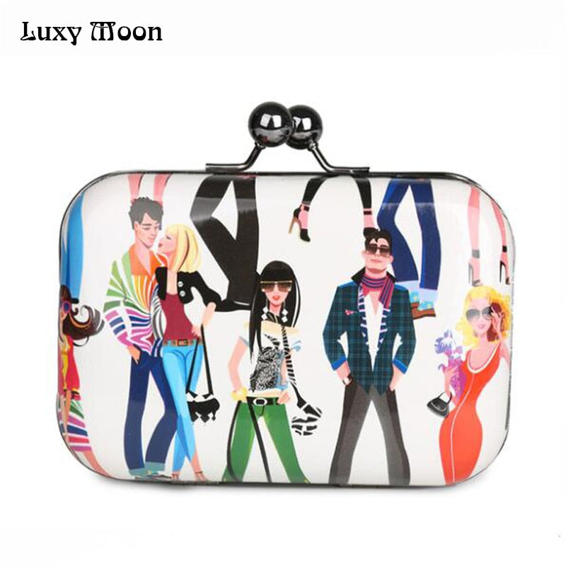 Luxy Moon candy color plaid clutch party bags