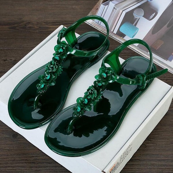 Women sandals 2018 summer women flat sandals flower decor women beach Jelly shoes Non-slip flip flops holiday beach slippers