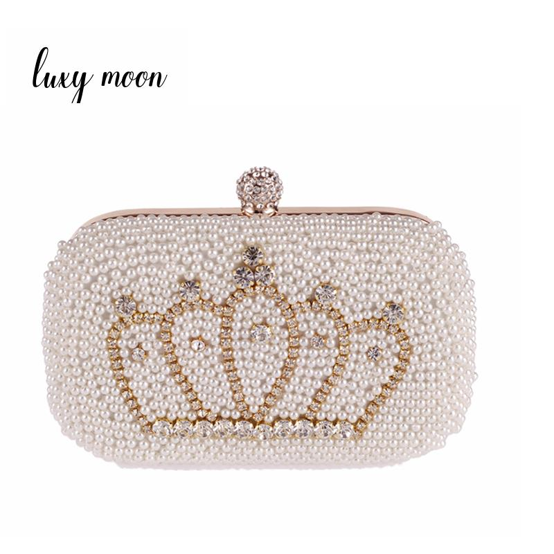 LUXY MOON pearls Evening Bag crown Diamond Clutch bag