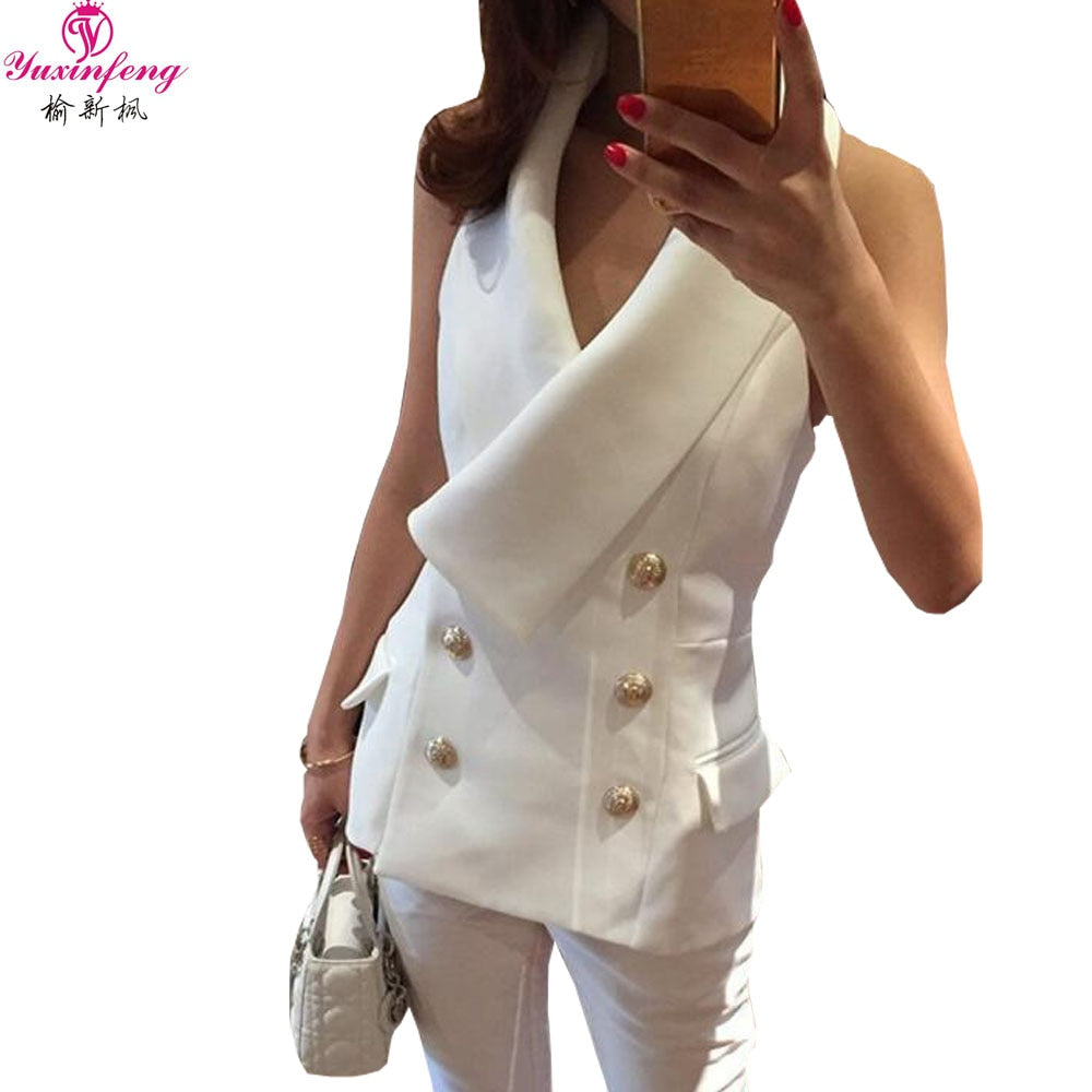 Yuxinfeng Spring Autumn Fashion Vest Women Slim Double Breasted Button Halter Sleeveless Jacket Ladies Office Waistcoat White