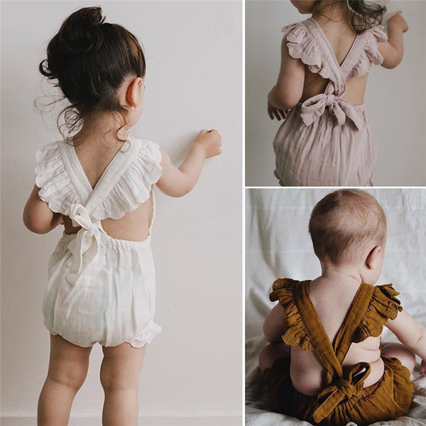 Kids Baby Girls Ruffles Backless