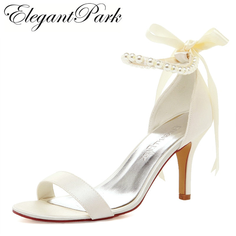 White High Heel Pearls Ankle Strap Satin Lady Bride Evening Party Bridal Wedding Shoes