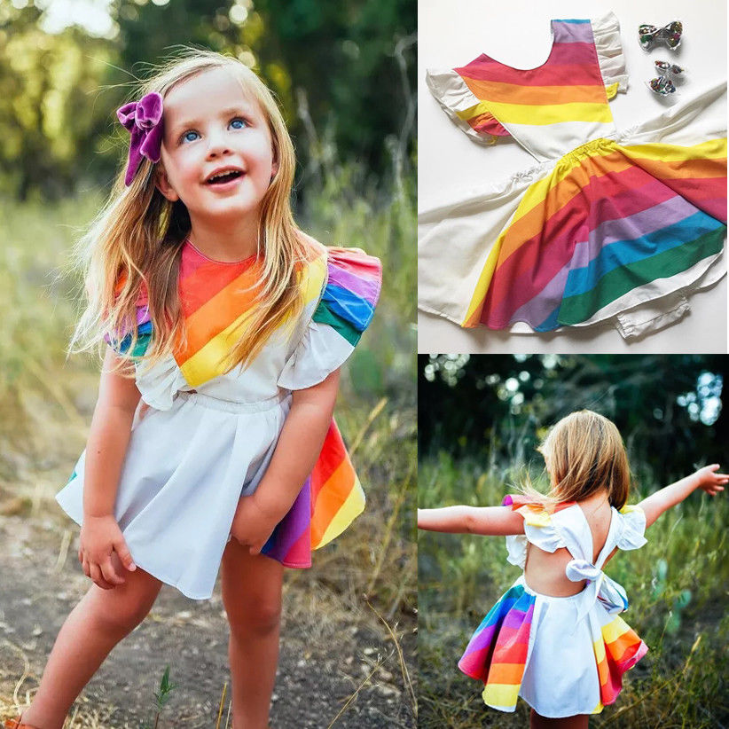 Fashion Rainbow Kids Baby Girl