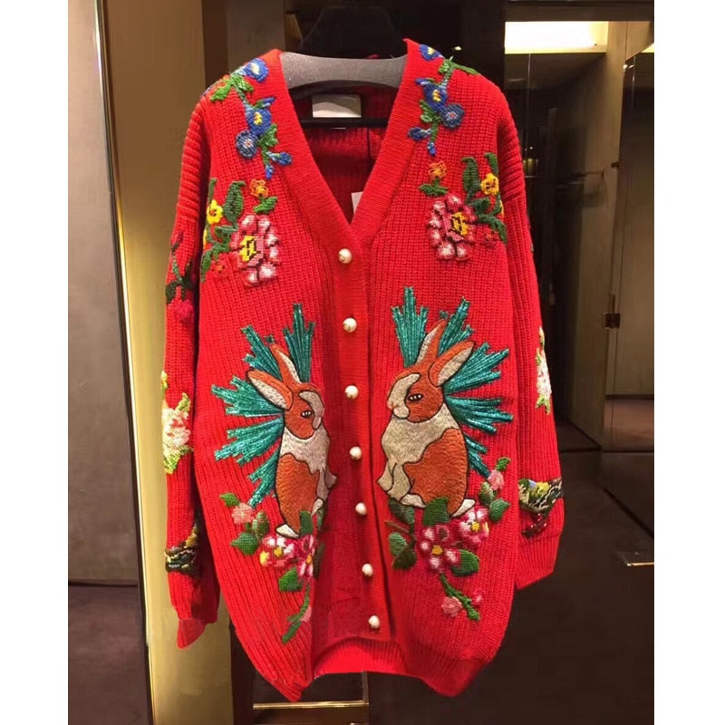 High Quality 30% Wool Sweater for Women Winter V Neck Embroidered Rabbit Tiger Flowers Warm Knitted Cardigans Red