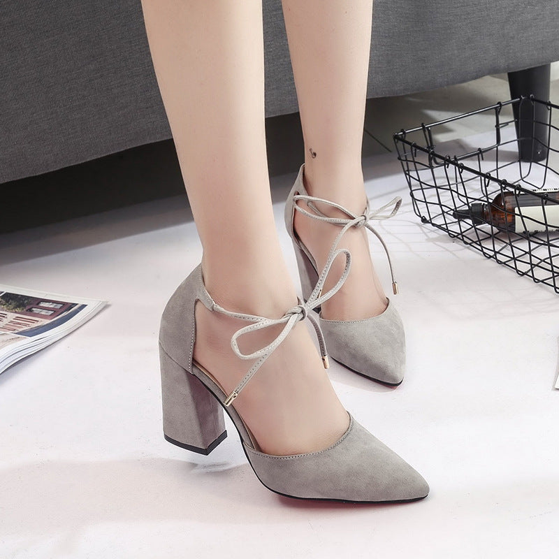 HEE GRAND 2019 Women's Shoes Fashion Solid Square Heel Pointed Toe Ladies Pumps Shoes Fashion Slip On Size 35-39 XWD7180