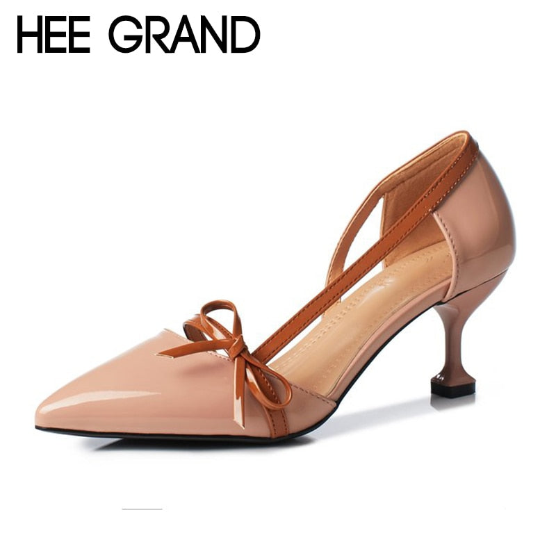 HEE GRAND 2018 Bow-knot Women Thin Heels Pumps Women Comfortable Wearing 2018 NEW Trend for the Fashion Shoes Women Heels WXG527