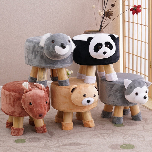 Handmade Animal Chair Wood Kids Stools Shoes Sofa with Plush Cartoon