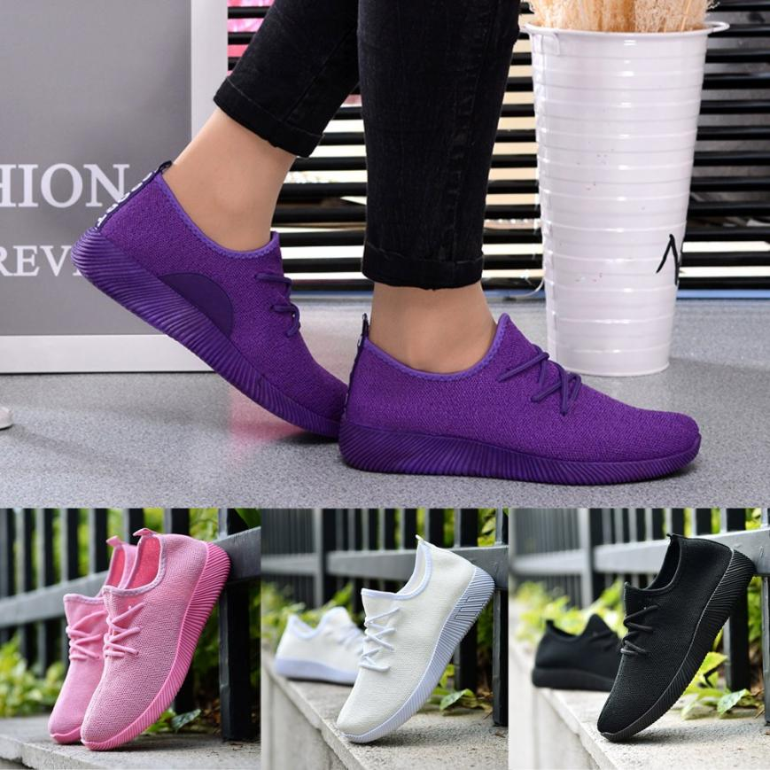 Women's Breathable Shoes Flying Woven Candy Color Student Net Walking Shoe