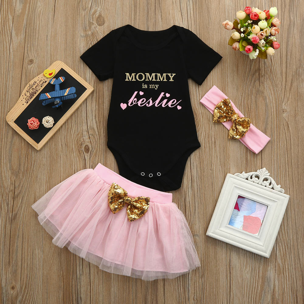 MUQGEW baby girl clothes Letter Short Sleeve T-shirt+Pink tutu Skirt+Bow Headband baby clothes girl summer yenidogan bebek giyim