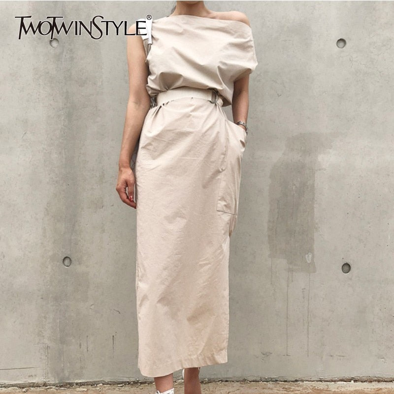 TWOTWINSTYLE Neck Dress For Women