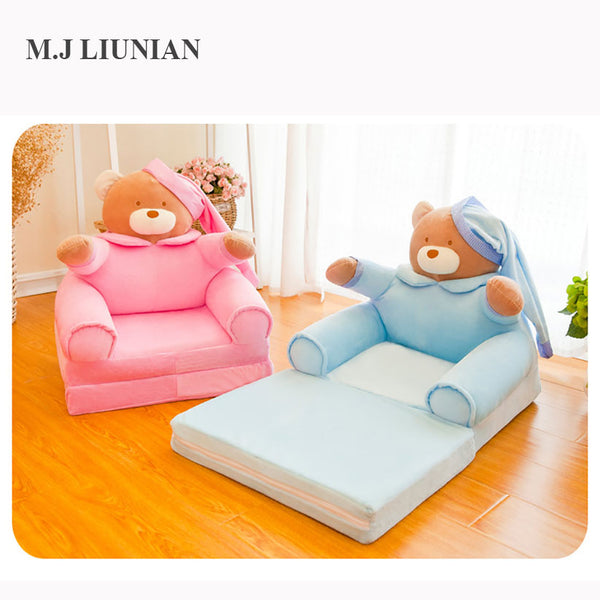 Foldable baby cartoon sofa cute bear children seat small bed kids soft chair with filler