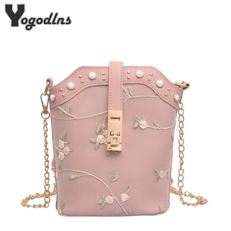 Chic Trend Lace Flower Bucket Women Handbags PU Leather Chain Shoulder Bag Small Embroidered Flowers Crossbody Bags 2019 New