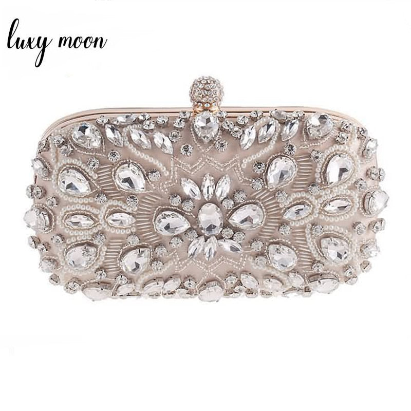 Luxy Moon Diamond Rhinestone Pearls Beaded Bags