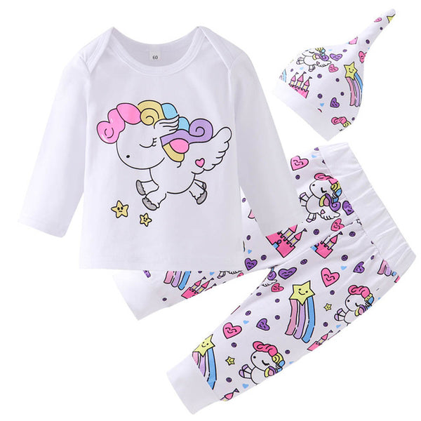 Newborn Baby Girl Clothes Sets Infant Fashion Unicorn Pegasus Star Heart Castle Tops+Pants+Hat+Headband 4PCS Baby Girl Clothing