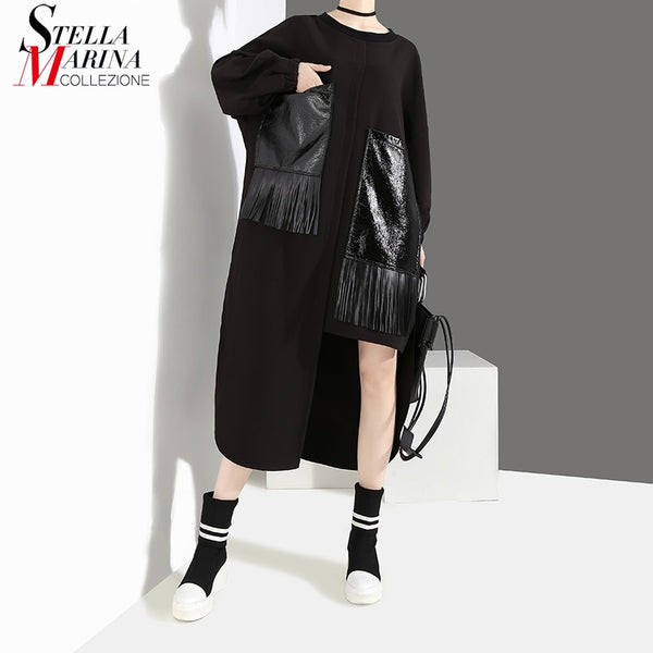 Winter Clothes Solid Black Long Dress With PU Pocket & Tassel Girls Special Wear