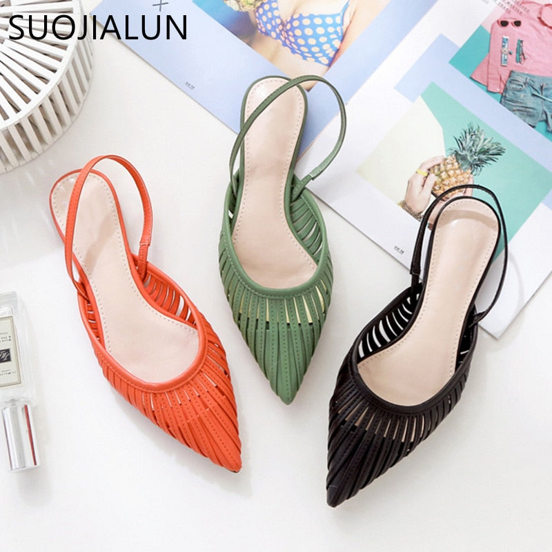 SUOJIALUN Flat Sandals Pointed Toe Slip Sandal