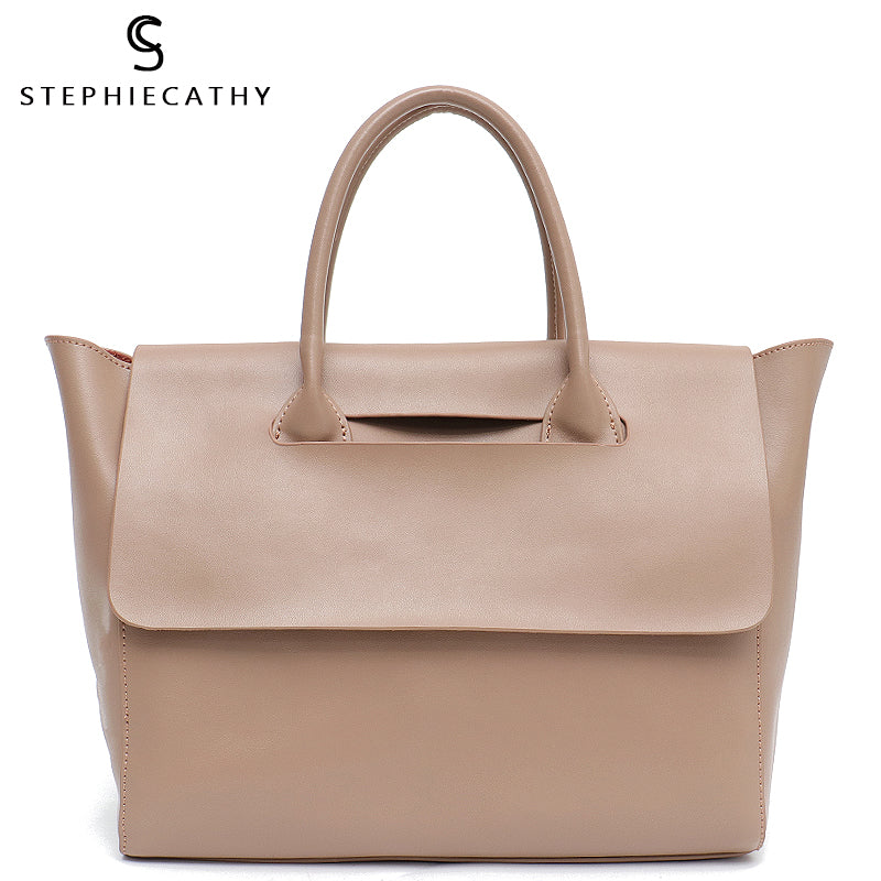 SC Fashion Brand Leather Lady Fashion Totes Women Bags Trapeze Shoulder&Crossbody Bag Large Flap Cow Leather Handbag&Baby Bag