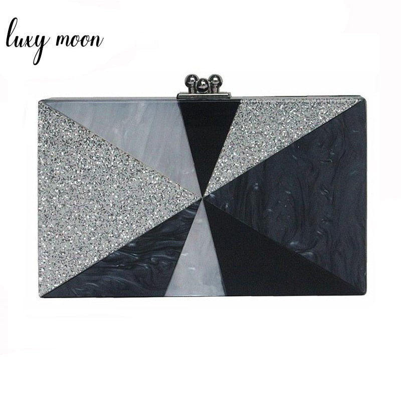Geometric Patchwork Acrylic Clutch Bag