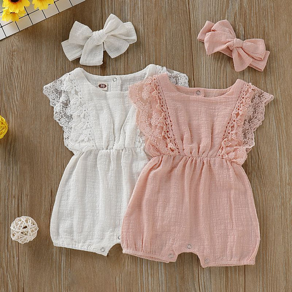 Summer Newborn Girls Rompers Set Toddler Infant Flare Sleeve Solid Print Lace Design Romper Jumpsuit with Headband One-Pieces