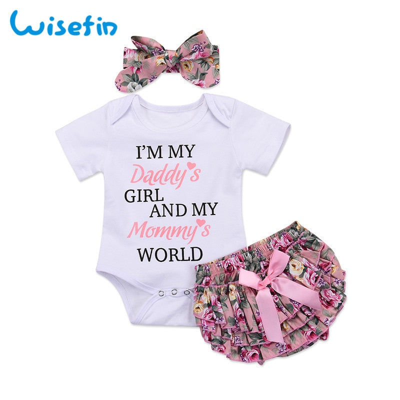 Newborn Summer Baby Bodysuits+Floral PP Shorts+Headband