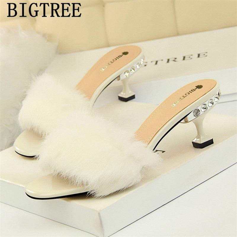 fur slippers mules shoes women