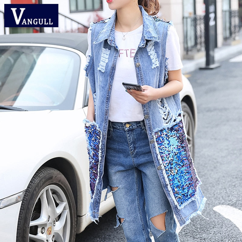 Vangull New Women Back Sequined Denim Vest 2019 Spring Summer new Korean version Hole Long Open Stitch coat female Jeans Vest