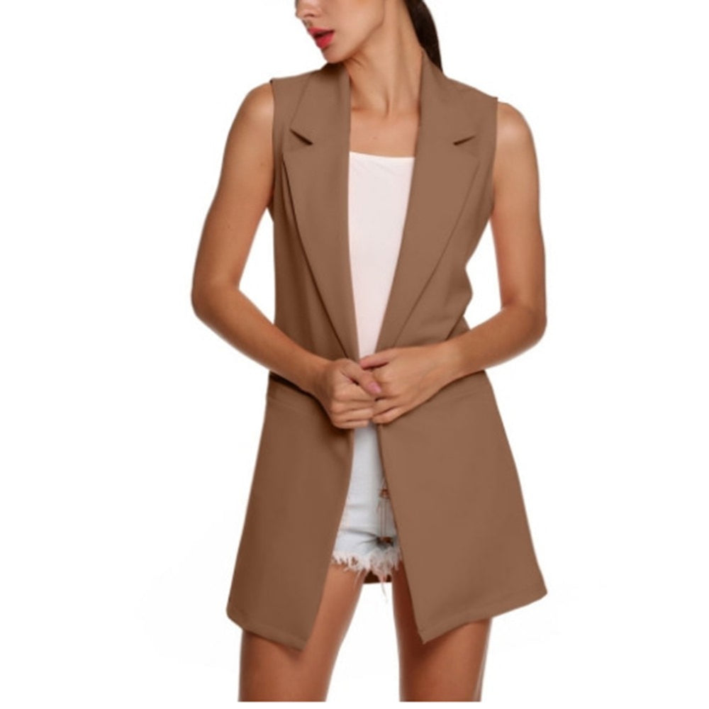 Women's Sleeveless Open Front Lapel Vests Causal Lightweight OL Work Cardigan Coats Fashion womens Vest feminino